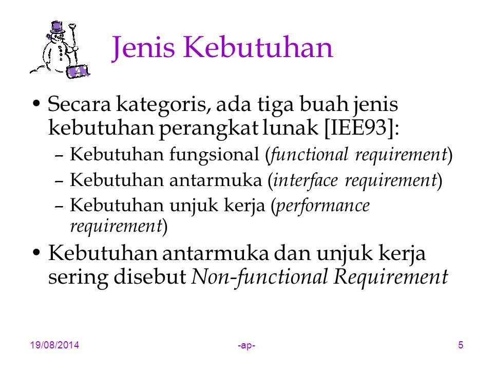 Jenis Kebutuhan Secara kategoris, ada tiga buah jenis kebutuhan perangkat lunak [IEE93]: Kebutuhan fungsional (functional requirement)
